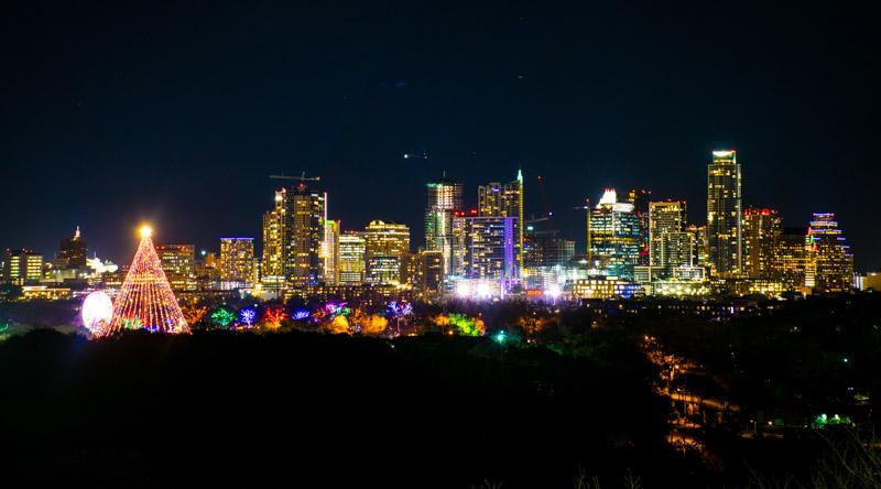 Austin at Christmas skyline while dark