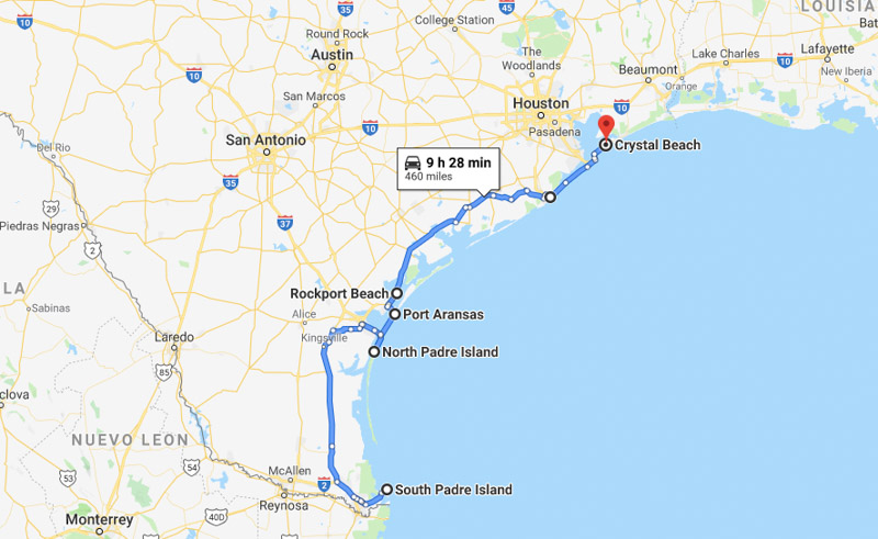 Beach towns in Texas map