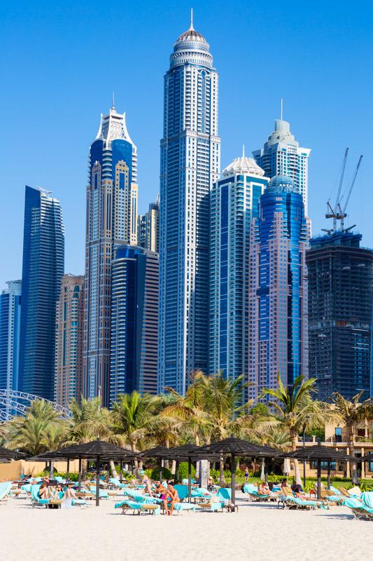 Dubai beach with skyline