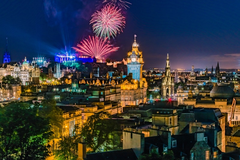 Edinburgh city from Calton Hill, at night with fireworks