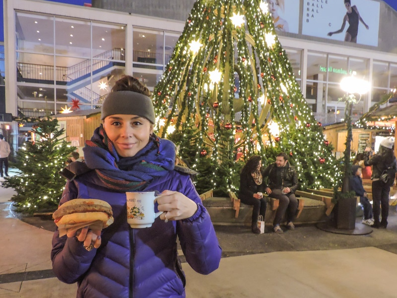 Gemma with Christmas mug at Vancouver Christmas Market_