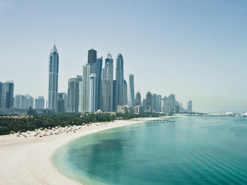 Jumeirah District Dubai Beach with skyline