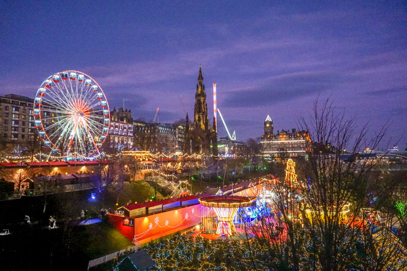 Princes Street Gardens Christmas Market huts and lights and rides