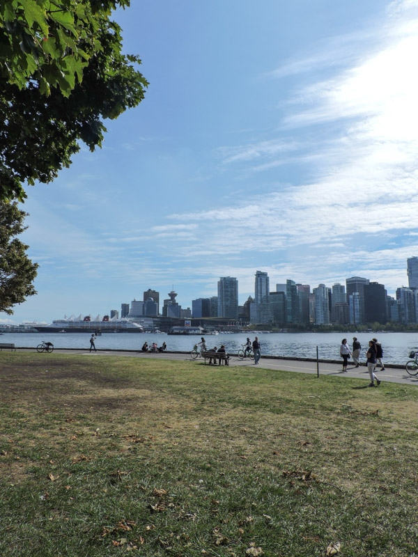Stanley Park view of city green grass, blue skies_