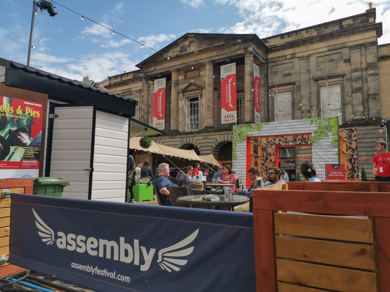 Assembly on George Street outside bar area_