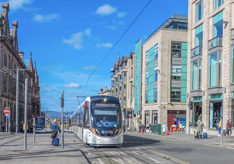 Edinburgh Tram, visitor with suitcase
