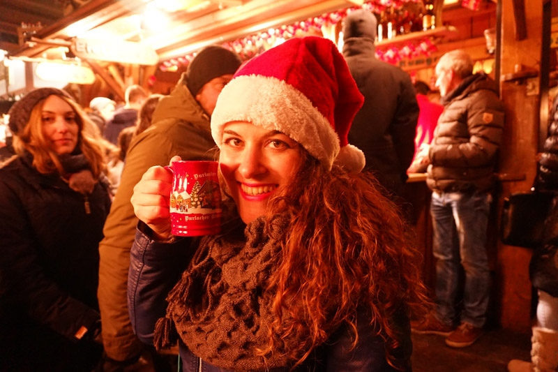Girl with Christmas mug at Karlsruhe Christmas Market