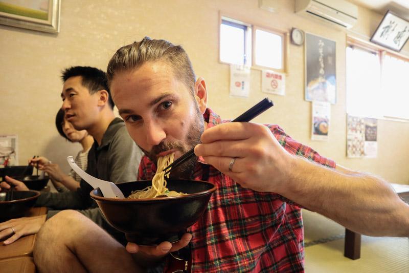 Craig eating Hokkaido Ramen_