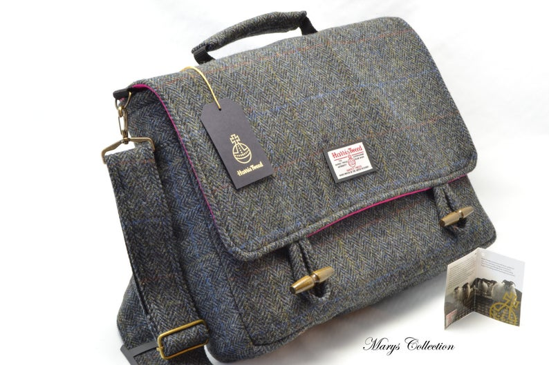 Harris Tweed Briefcase Laptop Bag Etsy