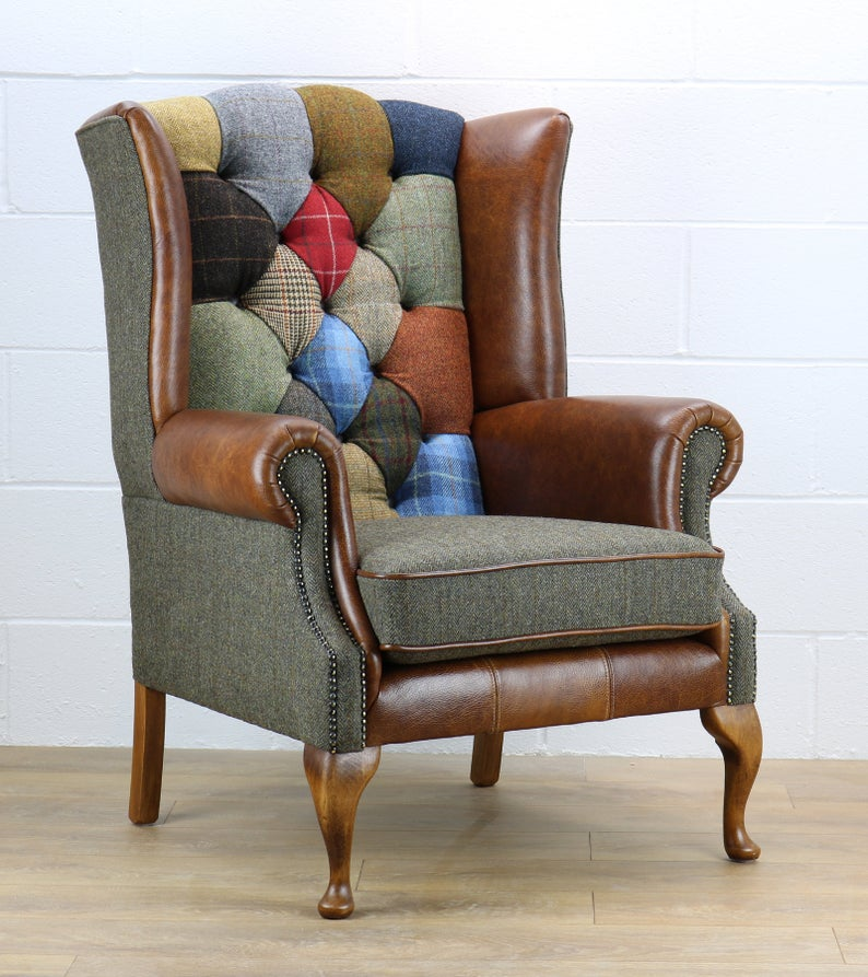 Patchwork Harris Tweed Armchair Etsy