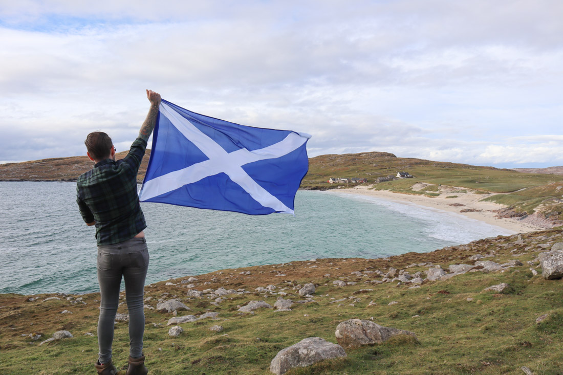 Luskentyre Beach Saltire Scotland Flag