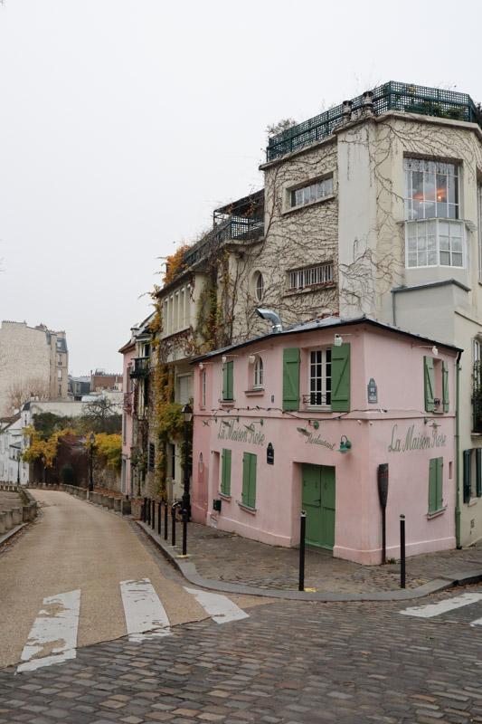 Montmartre Street Pink Building Paris