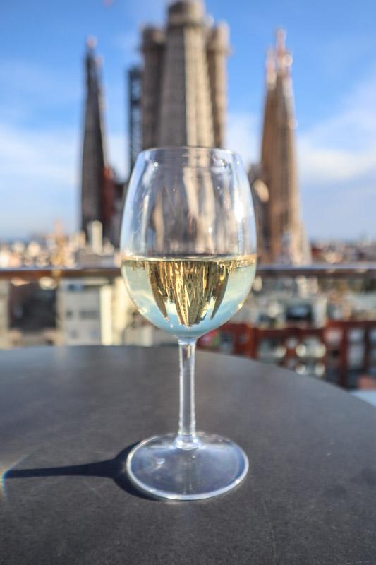 Sagrada Familia Reflection in Wine Glass