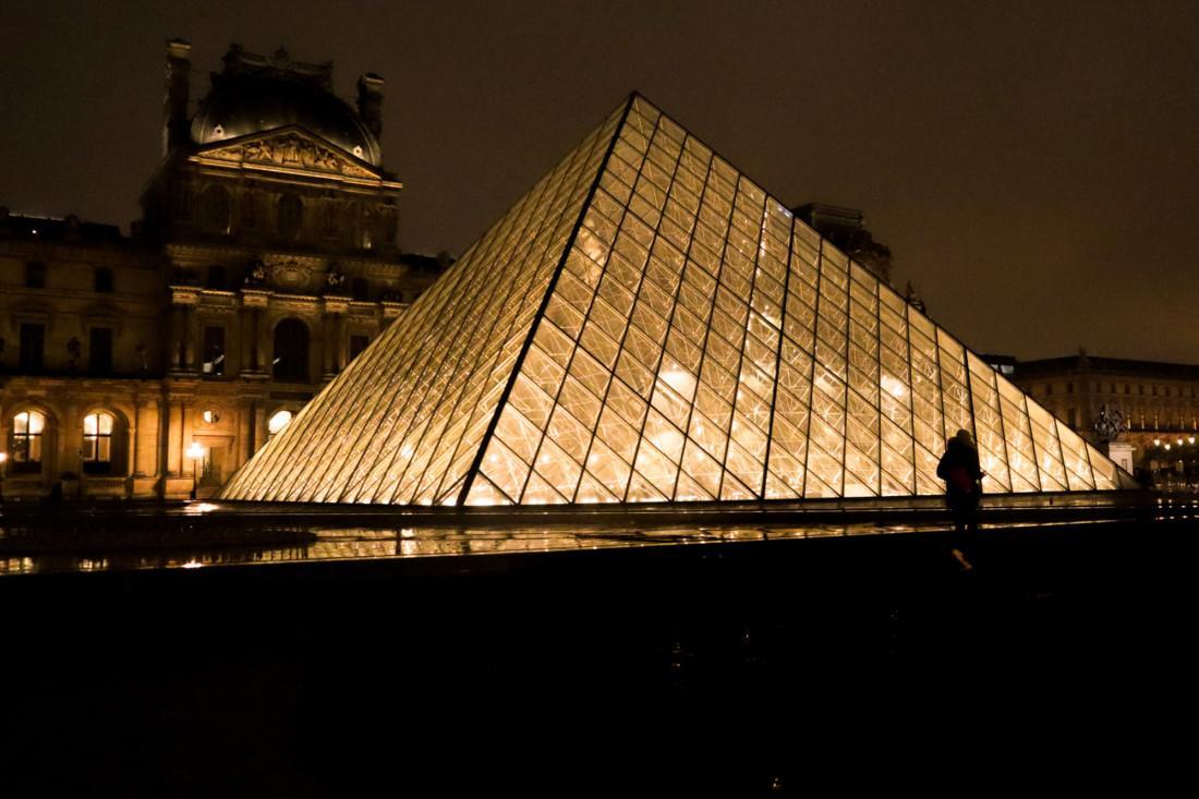 Paris Louvre lit up at night