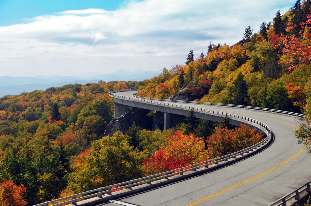 Linn Cove Viaduct on Blue Ridge Parkway in North Carolina