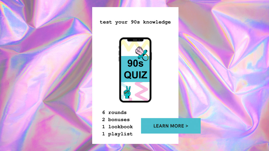 90s Quiz Callout Cellphone with 90s Quiz text against pastel coloured background