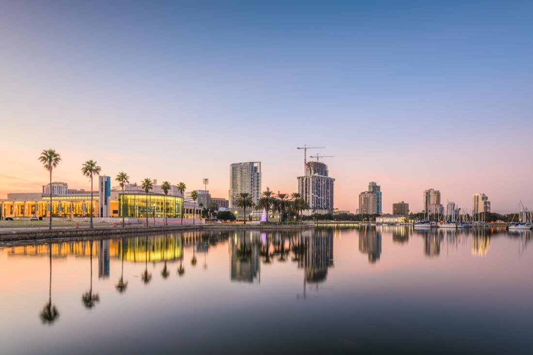 skyline at sunset in St Petersburg Florida