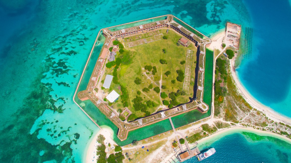view of Fort Jefferson and the Dry Tortugas from above
