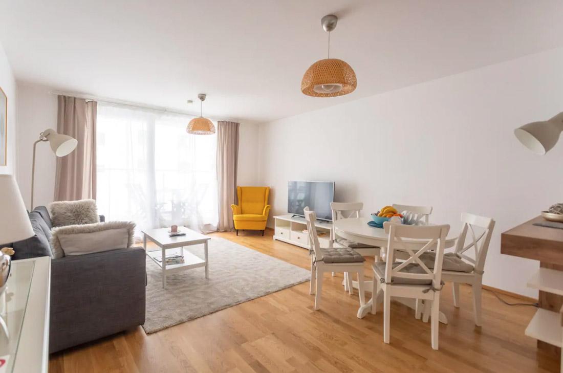 Modern, Clean Apartment White Decor Yellow Seat in Vienna