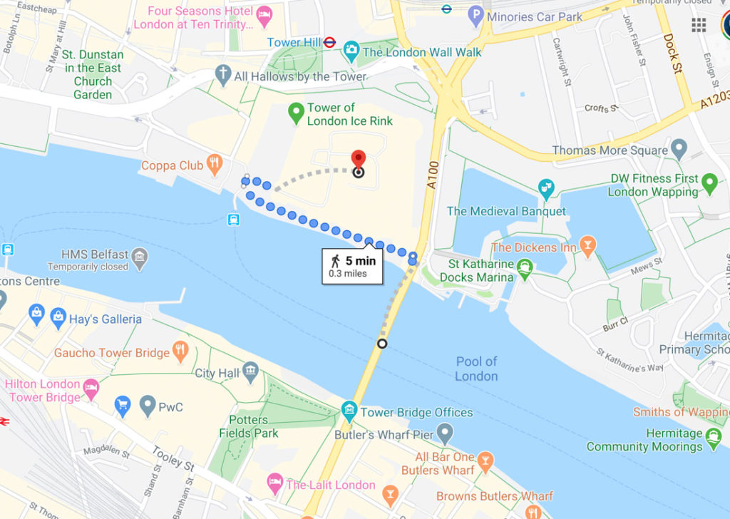 Tower of London and London Bridge Map