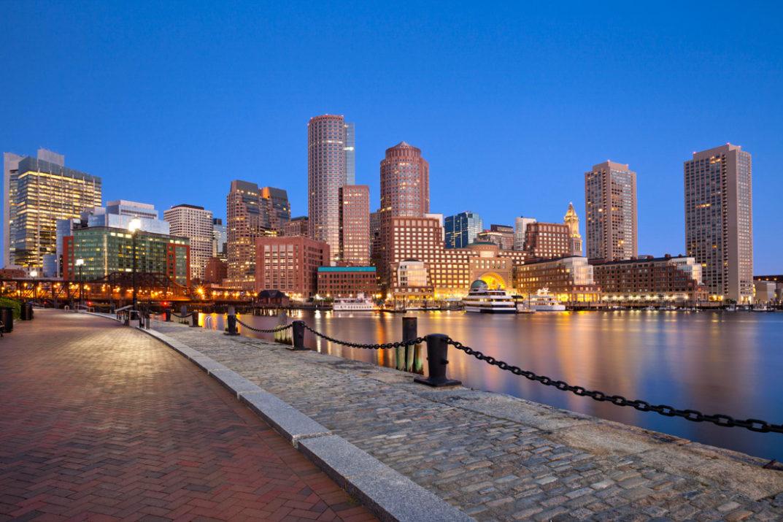 Boston at night harbour