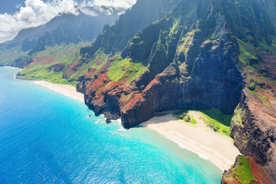 Kauai Hawaii blue sea, dramatic cliffs