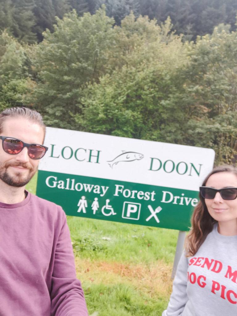 Loch Doon Sign Galloway Forest Park South Scotland_